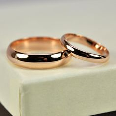 Rose Gold Wedding Band Set, Half Round and Rings, Classic Style, Rutledge Jewelers – Engagement & wedding rings Wedding Rings Simple, Curved Wedding Band, Wedding Rings Rose Gold, Wedding Band Sets, Gold Engagement Rings, Gold Rings, Wedding Gold, Wedding Gifts, Ring Verlobung