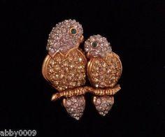 Signed Swan Swarovski Love Birds Brooch Pin
