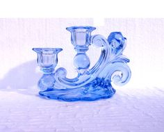 CAMBRIDGE BLUE GLASS Candleholder Elegant Depression by shoporama, $25.00