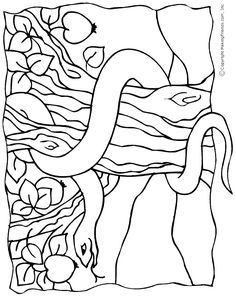 Snake in the Garden of Eden Colouring Page