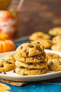 One bowl, gluten free chocolate chip pumpkin cookies made with almond flour Gluten Free Pumpkin Cookies, Gluten Free Cookie Recipes, Pumpkin Chocolate Chip Cookies, Holiday Cookie Recipes, Paleo Cookies, Flour Recipes, Cooking Recipes, All You Need Is, Almond Flour Cookies