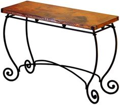 For #livingroom or #diningroom, a fourth wrought iron scroll and copper console table