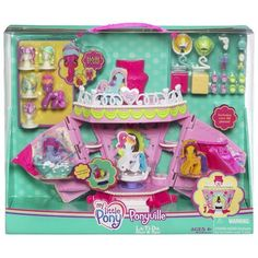 My Little Pony Deluxe Playset - Salon by Hasbro. $29.99. Loads of dress-up styling fun. Playset comes with CHEERILEE pony figure, 5 wigs, bathtub, 2 shoeboxes, 8 shoes, 4 mannequin heads. Includes 2 skirts, hanger, bottle, chair, hairdryer, scissors and brush accessories. Hairdresser's chair spins. Salon and spa pony playset comes with quick-changing hairstyles and more than 25 fun fashion accessories. A pony-sized salon and spa playset. My Little Pony Ponyvil...