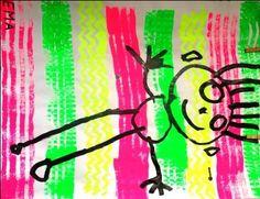 Empreintes de rouleaux à la peinture fluo + dessin de bonhomme au gros feutre noir