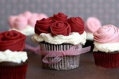 I'm thinking chocolate cake, white icing red roses and white cake red frosting and white roses