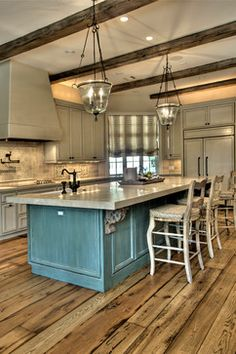 Kitchen Island, beams and color of cabinets