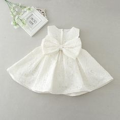 – Baby Girl Bow Patter Dress With Hat – Material: Cotton,Polyester,Spandex,Lace,…
