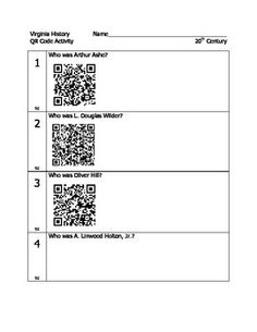 This is the most fun way I could think of to teach students about 20th century Virginians. With so many videos on Youtube about Arthur Ashe etc, this QR code activity (and Q & A note-taking sheet) is great for small group or partners.Student groups also had the VA Our World History textbook out to look up people (like Linwood Holton #4) that do not have a QR link.