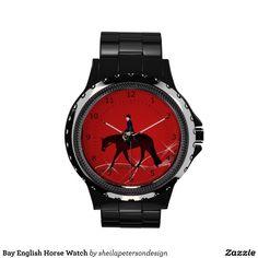 New Bay English Horse Watch by Sheila Peterson Design!! www.zazzle.com/sheilapetersondesign  www.sheilapetersondesign.com #equine #watches #gifts