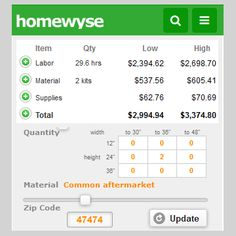 Installation cost estimators for home construction, home remodeling and home maintenance. Typical installation pricing estimates.