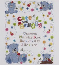 Bucilla ® Baby - Counted Cross Stitch - Crib Ensembles - Cute & Cuddly - Birth Record Kit