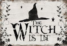 Halloween wooden sign Halloween decor Witch by DesignHouseDecor
