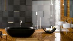 Bathroom Dazzling Contemporary Bathroom Design With Dark Wall Tile Shower Glass Door Fancy Excellent And Twin Round White Sink Also Shiny Wooden Floor Beautiful Modern Contemporary Bathroom Design Ideas For Dazzling Look