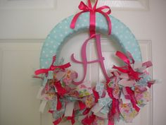 Baby Girl Wreath in Aqua, Pink & Butterfly ribbons for Hospital Door Hanger, bridal shower, baby shower, birthday party. $46.00 USD, via Etsy.