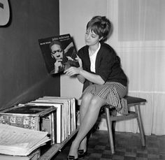 17 year old Sylvie posing with her vinyls, 1961