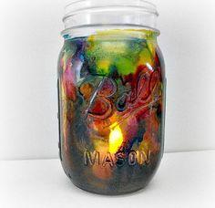 Alcohol Ink Dyed Mason Jar Mason Jar Candle by LilyGraceInspired
