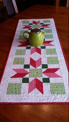 Quilted Table Runner Modern Christmas Table Runner by djwquilts