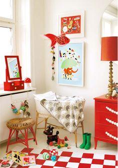 Red Nursery or Kid Room Red Nursery, Girl Nursery, Girls Bedroom, Bright Nursery, Circus Nursery, Bedroom Ideas, Nursery Dresser, Bedroom Decor, Nursery Ideas