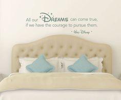 Walt Disney Vinyl Quote: All Our Dreams Can Come door MyVinylDecor