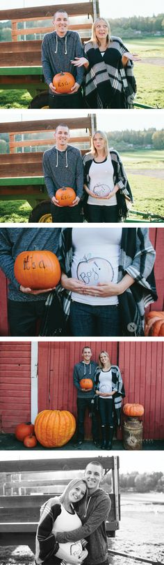 Cute fall gender reveal at a pumpkin farm! Love that the colors are gender neutral.