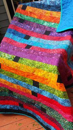Batik Jelly Roll Race Quilt | sparklycorner