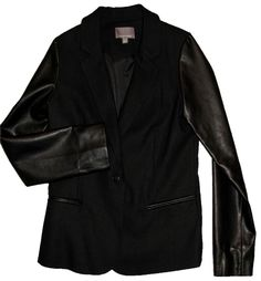 Tinley Road Leather Sleeve Jacket - BLACK Blazer. Free shipping and  guaranteed authenticity on Tinley 544d4f4ba571