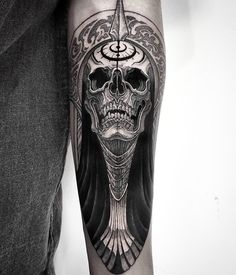 Skull tattoo by O One Art from Bloodcandy Tattoo, Busan City - South Korea - tattoo Knuckle Tattoos, Top Tattoos, Skull Tattoos, Body Art Tattoos, Girl Tattoos, Sleeve Tattoos, Tattoos For Guys, Blackwork, World Tattoo