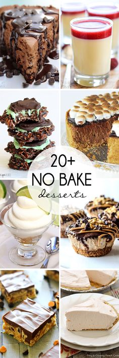 20+ No Bake Desserts - pie, cheesecake, cookies, and more!