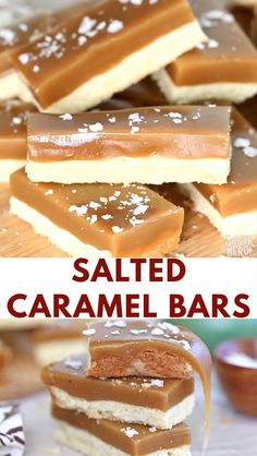 Salted Caramel Bars have a buttery shortbread base and a topping of rich, chewy caramel. A crunchy dusting of flaked sea salt on top is the perfect finishing touch! food and drinks Salted Caramel Bars Video Quick Dessert Recipes, Easy Cookie Recipes, Candy Recipes, Brownie Recipes, Easy Desserts, Baking Recipes, Sweet Recipes, Delicious Desserts, Delicious Cookies