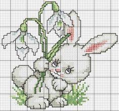 Lindos esquemas de conejos punto cruz gratis | Punto de cruz ...