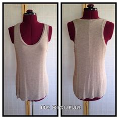 """De Rigueur Racer Back Top Top is loose fitting and fully lined. 25"""" long. De Rigueur Tops Tank Tops"""