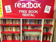 Back to School Bulletin Board Ideas, kind of clever to get the kids going back to school with reading in mind #reading #backtoschool #redbox #readbox #bookrental #movie