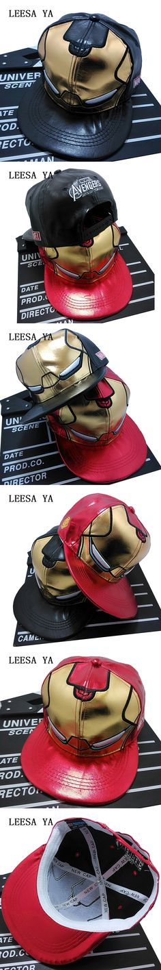 Fashion Iron Man Snapback Baseball Cap Men Women Leather Snapback Hats Gorras Planas Hip Hop Hombres Bone Masculino Polo Hat
