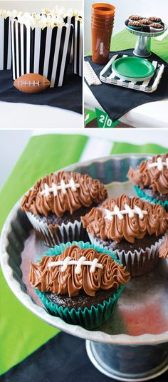 Football Party by Lindi Haws of Love The Day Football Party Favors, Nfl Party, Football Party Decorations, Football Centerpieces, Football Treats, Sports Party, Football Birthday Cakes, Football Food, Football Cupcakes