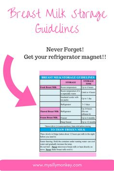 Breast Milk Storage Guidelines! Get your magnet! Never forget how to store.