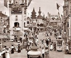 """American Gilded Age Amusement Park - """"Luna Park"""" at Coney Island, Brooklyn, New York, ~ {cwl} ~ (Image/collection: The LOC) Old Pictures, Old Photos, Vintage Photos, Vintage Photographs, Coney Island Amusement Park, Amusement Parks, Street Curb, Vintage New York, Lower Manhattan"""