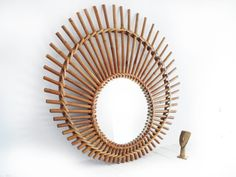 French Mid century wicker round  mirrorbeautiful by FrenchMelody, $39.00