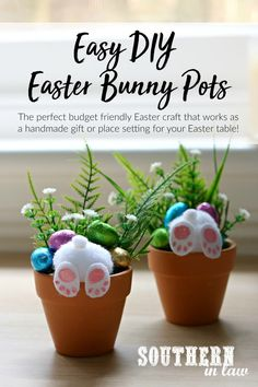 Easy DIY Curious Easter Bunny Pots - handmade Easter gift ideas, place settings, placecards, homemade decorations, easter eggs, teacher gift ideas, classroom gifts