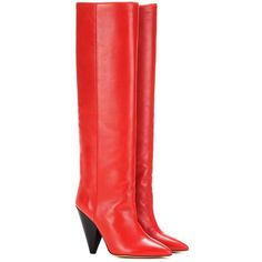 Isabel Marant Laith Leather Knee-High Boots ($1,255) ❤ liked on Polyvore featuring shoes, boots, red, genuine leather boots, red leather boots, knee high boots, red knee high boots and leather boots
