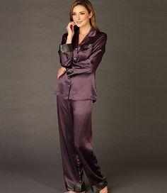 Evening Lounge Silk Pajama - Button-Up Pajama Button Up Pajamas, Flannel Pajamas, Pyjamas, Pyjama Satin, Satin Pajamas, French Women Style, Lingerie Outfits, Pajamas Women, Night Outfits