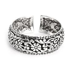 Floral Greek Design Wide Cuff Bracelet Eve's Addiction. $38.00. Approximate Weight: 43.9 grams