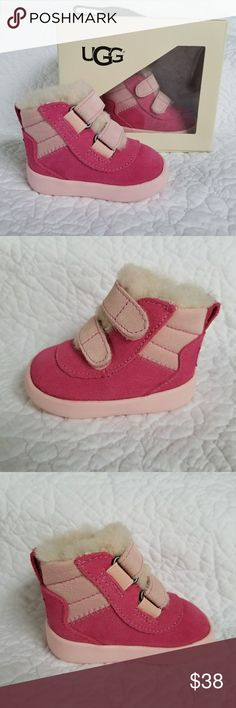 NEW UGG 0/1 Infant Baby Pritchard Boots Pink Suede NEW in box UGG size 0/1 (0-3mos) Infant Baby Girl Pritchard Pink Suede and Shearling Booties. Hook and Loop closure, adorable and soft! Slip resistant sole. Great baby shower gift! UGG Shoes Baby & Walker