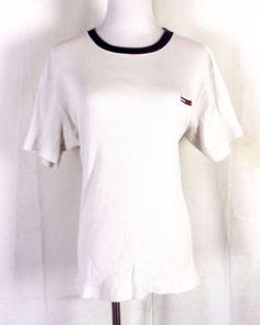 66318dbfa32 vtg 90s Tommy Hilfiger Jeans Ribbed Cream Shirt T-Shirt Flag Logo Hip Hop S