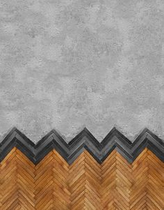 Amazing combo of both concrete herringbone wood installation Behang WALL DECO Designwebwinkel Click the image to read more! Floor Patterns, Tile Patterns, Textures Patterns, Floor Design, Wall Design, Design Design, Custom Design, Cabinet D Architecture, Wood Architecture
