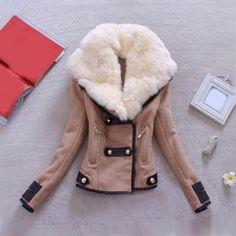 $32.54 Fashionable Turn-Down Collar Spliced Thicken Long Sleeve Women's Coat