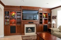 Fireplace with built in entertainment center