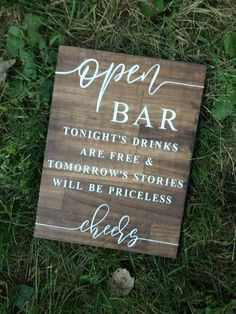 Open Bar Wedding Sign, Wedding Sign, Wooden Wedding Sign, Open Bar Sign is part of Wedding bar sign Open bar sign! Adds a beautiful rustic touch to any wedding!Wood sign with kona stain and white vi - Perfect Wedding, Dream Wedding, Wedding Day, Budget Wedding, Wedding Tips, Wedding Bells, Wedding Timeline, Wedding Anniversary, Wedding Flowers