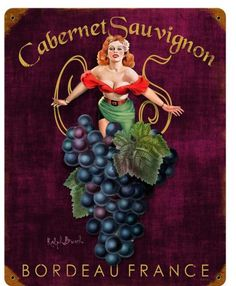 Cabernet Sauvignon  Metal Sign 12 x 15 Inches, $29.98 #vintage #retro #nostalgia #tinsign #homedecor #pinup