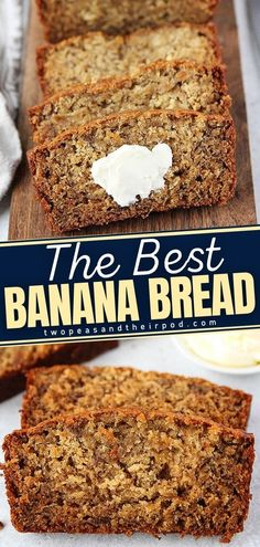 Turn your brown bananas into the BEST Banana Bread Ever! This easy and simple breakfast recipe is a classic family favorite. It has the perfect amount of sweetness with an intense banana flavor. This quick bread is super moist and delicious! Pin this baked breakfast treat!