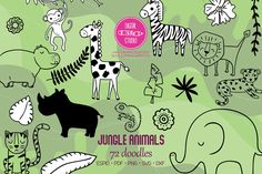 Animal Doodles, Black Silhouette, Jungle Animals, Vector Graphics, Animal Drawings, Design Bundles, How To Draw Hands, Tropical